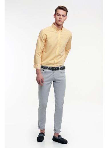 Hemington Sarı Çizgili Ince Spor Gömlek Sarı